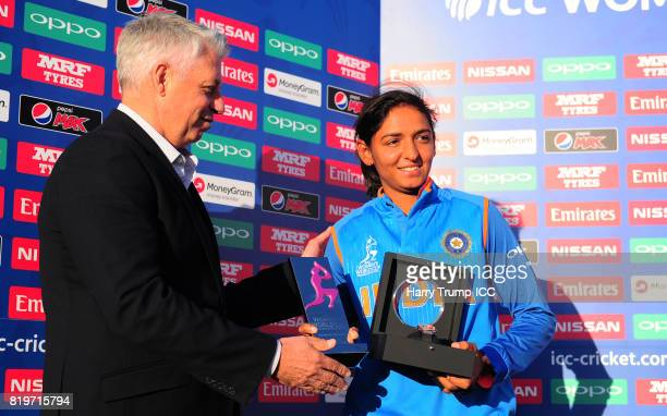 Harmanpreet Kaur of India is presented with the player of the match award during the ICC Women's World Cup 2017 match between Australia and India at...