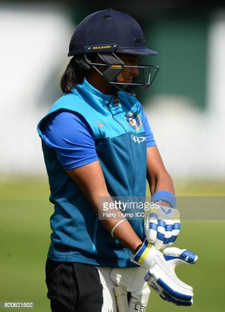 Harmanpreet Kaur of India pads up during the England v India Final ICC Women's World Cup 2017 Previews at Lord's Cricket Ground on July 22 2017 in...