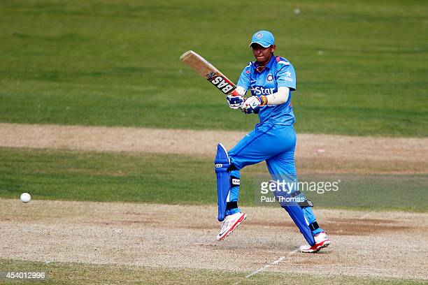 Harmanpreet Kaur of India plays a shot during the 2nd Royal London ODI between England and India at North Marine Road on August 23 2014 in...