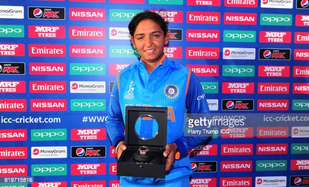 Harmanpreet Kaur of India poses with a Hublot watch during the ICC Women's World Cup 2017 match between Australia and India at The 3aaa County Ground...