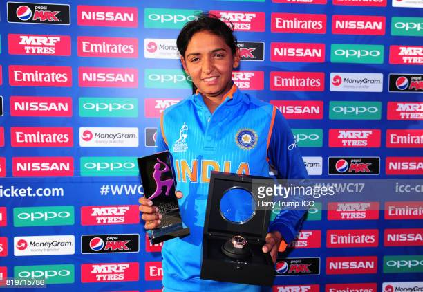Harmanpreet Kaur of India poses with the player of the match award along with a Hublot watch during the ICC Women's World Cup 2017 match between...