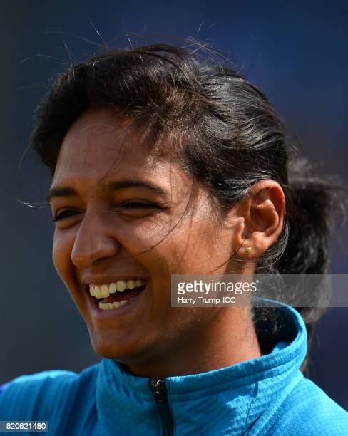 Harmanpreet Kaur of India smiles during the England v India Final ICC Women's World Cup 2017 Previews at Lord's Cricket Ground on July 22 2017 in...