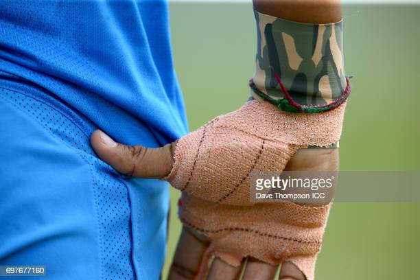 Harmanpreet Kaur of India with her hand strapped during the ICC Women's World Cup warm up match between India and New Zealand at The County Ground on...