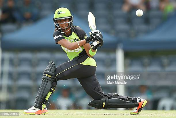 Harmanpreet Kaur of the Thunder bats during the WBBL match between Heat and Thunder at Blacktown International Sportspark on January 2 2017 in Sydney...