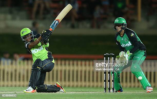 Harmanpreet Kaur of the Thunder bats during the Women's Big Bash League match between the Sydney Thunder and the Melbourne Stars at North Sydney Oval...