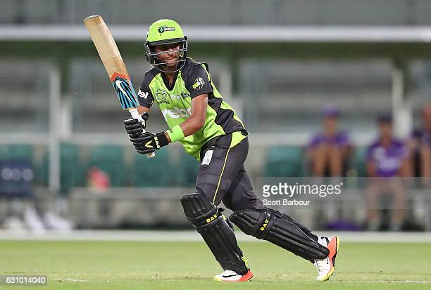 Harmanpreet Kaur of the Thunder bats during the Women's Big Bash League match between the Sydney Thunder and the Hobart Hurricanes at Aurora Stadium...