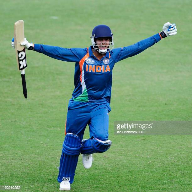 Harmeet Singh of India celebrates after scoring the winning runs during the ICC U19 Cricket World Cup 2012 Quarter Final match between India and...