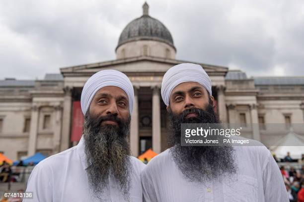 Harminder Singh and Nandh Singh attend the Vaisakhi Festival 2017 in Trafalgar Square central London to mark the Sikh New Year the holiest day of the...
