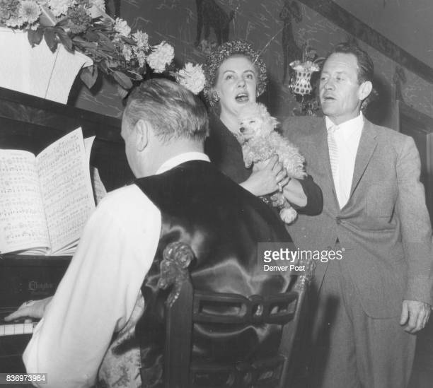 Harmonizing at the Black Sheep club opening on Tuesday evening were Mrs Burton Brown of Chicago wife of the founder of the club and Col Gregory...