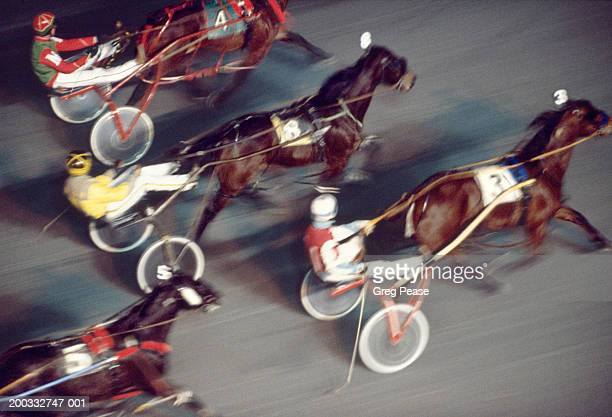 Harness race, elevated view (blurred motion)