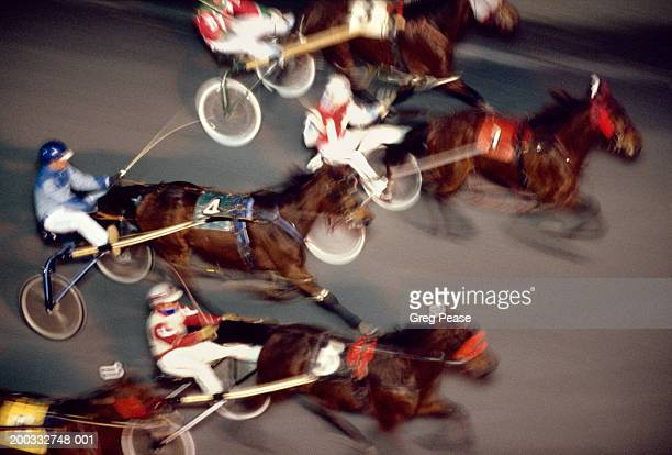 Harness racing, elevated view (Digital Enhancement, blurred motion)