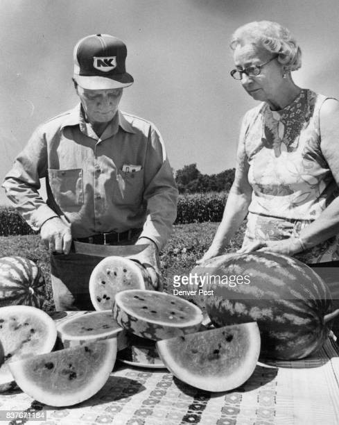 Harold and Winifred Taylor above slice watermelons Mrs Taylor makes watermelon pickles but draws the line at watermelon syrup It takes too much time...