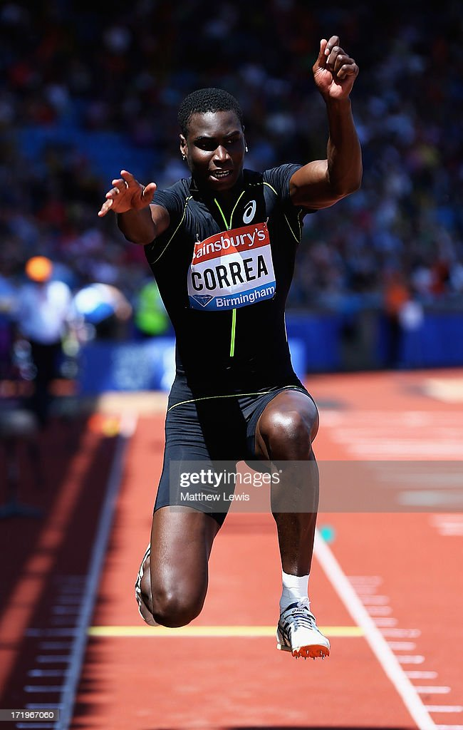 Harold Correa of Francel in action during the Mens Triple Jump during the Sainsbury's Grand Prix Birmingham IAAF Diamond League at Alexander Stadium on June 30, 2013 in Birmingham, England.