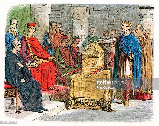 Harold II last AngloSaxon king of England c1064 Harold c10201066 swearing an oath on sacred relics before William of Normandy to support his claim to...