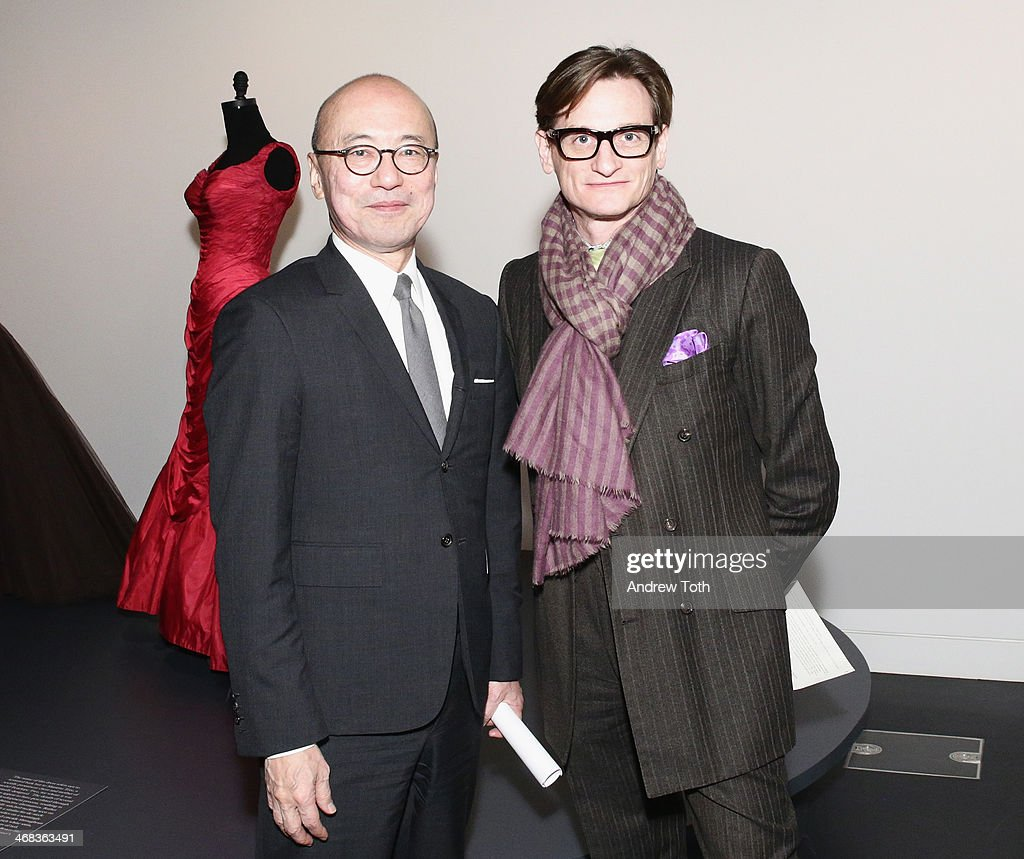 Harold Koda and <a gi-track='captionPersonalityLinkClicked' href=/galleries/search?phrase=Hamish+Bowles&family=editorial&specificpeople=217532 ng-click='$event.stopPropagation()'>Hamish Bowles</a> attend The Metropolitan Museum Of Art Presents: Charles James Exhibition press preview at Metropolitan Museum of Art on February 10, 2014 in New York City.