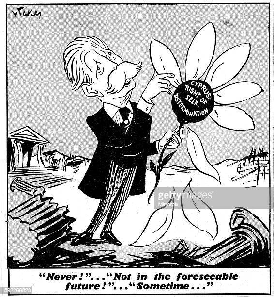 Harold Macmillan seen here picking petals of a flower called Cyprus right of self determination Caption reads 'Never'' Not in the foreseeable future...
