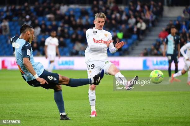 Harold Moukoudi of Le Havre and Benjamin Bourigeaud of Lens during the Ligue 2 match between Le Havre AC and Racing Club de Lens on April 24 2017 in...