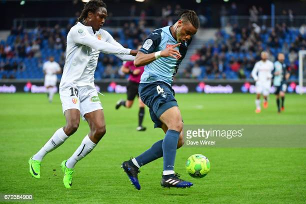 Harold Moukoudi of Le Havre and Habib Habibou of Lens during the Ligue 2 match between Le Havre AC and Racing Club de Lens on April 24 2017 in Le...