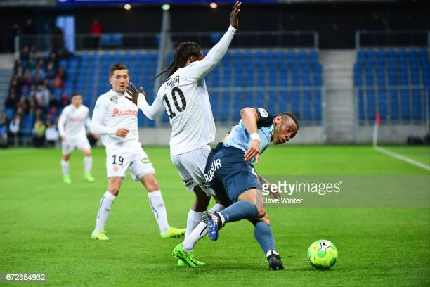Harold Moukoudi of Le Havre and Habib Habibou of Lensduring the Ligue 2 match between Le Havre AC and Racing Club de Lens on April 24 2017 in Le...