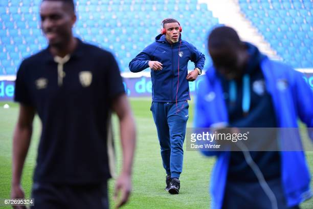 Harold Moukoudi of Le Havre before the Ligue 2 match between Le Havre AC and Racing Club de Lens on April 24 2017 in Le Havre France