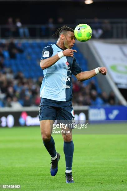 Harold Moukoudi of Le Havre during the Ligue 2 match between Le Havre AC and Racing Club de Lens on April 24 2017 in Le Havre France