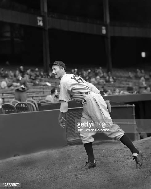 Harold Newhouser of the Detroit Tigers throwing a ball in 1940