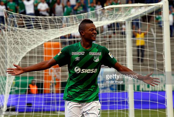 Harold Preciado of Deportivo Cali celebrates after scoring the first goal of his team during a match between Deportivo Cali and La Equidad as part of...
