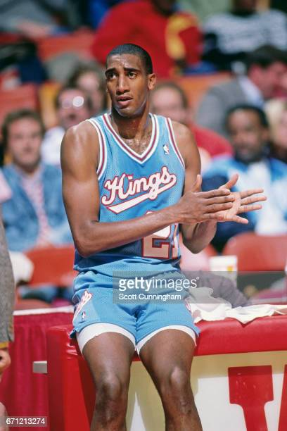 Harold Pressley of the Sacramento Kings looks on against the Atlanta Hawks during a game played circa 1990 at the Omni in Atlanta Georgia NOTE TO...