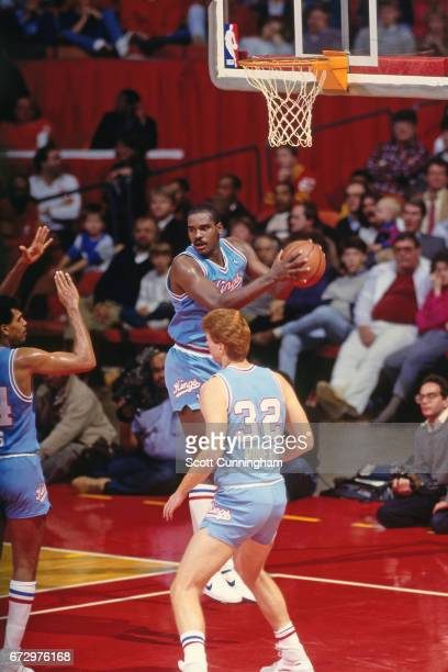 Harold Pressley of the Sacramento Kings rebounds against the Atlanta Hawks during a game played circa 1990 at the Omni in Atlanta Georgia NOTE TO...