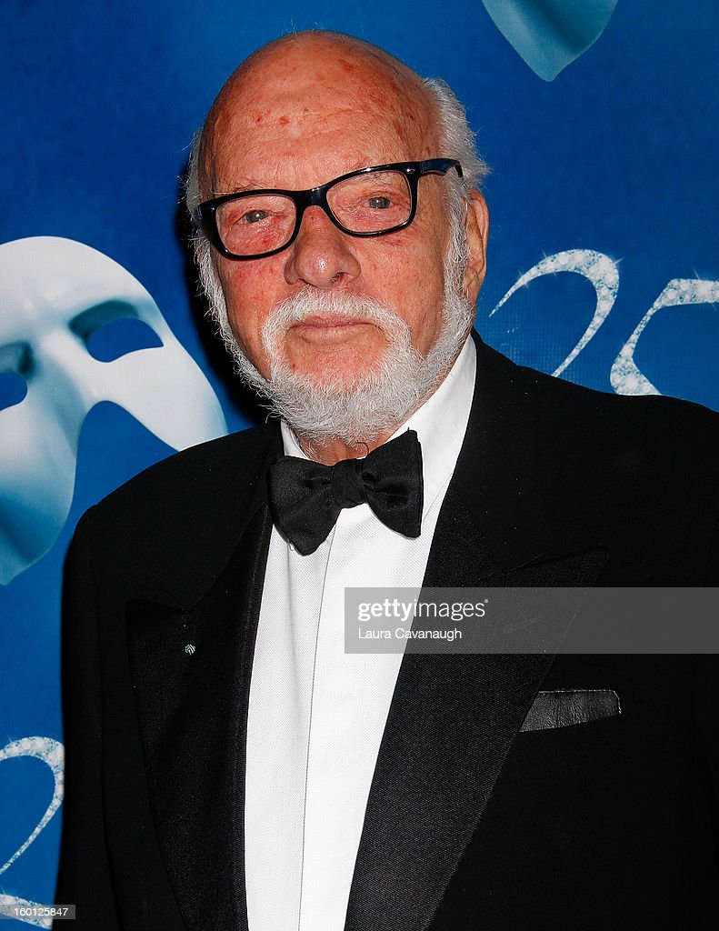 <a gi-track='captionPersonalityLinkClicked' href=/galleries/search?phrase=Harold+Prince+-+Theaterproducent&family=editorial&specificpeople=14912354 ng-click='$event.stopPropagation()'>Harold Prince</a> attends 'The Phantom Of The Opera' Broadway 25th Anniversary at Majestic Theatre on January 26, 2013 in New York, New York.