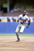 Harold Reynolds of the Seattle Mariners runs the baseline during a game circa 19831992