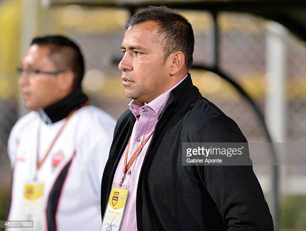 Harold Rivera coach of Patriotas FC gestures during a match between Patriotas FC and Millonarios as part of Liga Aguila II 2015 at Metropolitano de...