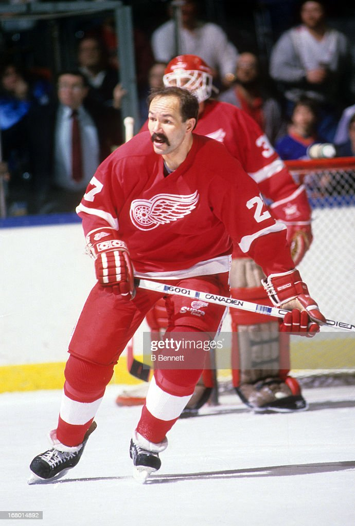 Harold Snepsts of the Detroit Red Wings skates on the ice during an NHL game against the New York Islanders on March 12 1988 at the Nassau Coliseum...