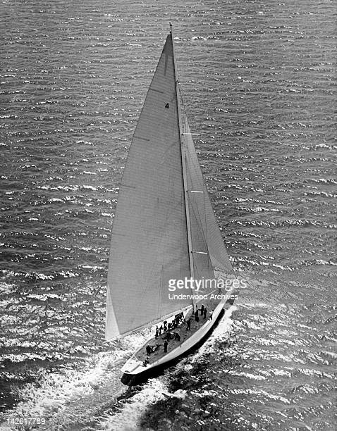 Harold Vanderbilt's 'Rainbow' the 1934 America's Cup defender which is rumored to have been purchased by Chandler Hovey Commodore of the Eastern...