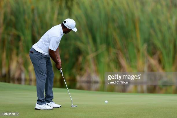 Harold Varner III attempts a putt on the 17th green during the first round of the Puerto Rico Open at Coco Beach on March 23 2017 in Rio Grande...