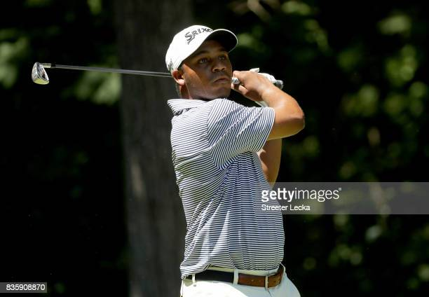 Harold Varner III hits a tee shot on the second hole during the final round of the Wyndham Championship at Sedgefield Country Club on August 20 2017...