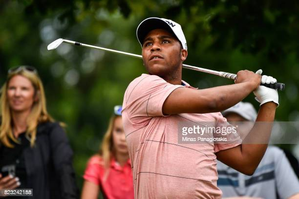 Harold Varner III hits a tee shot on the seventh hole during the championship proam of the RBC Canadian Open at Glen Abbey Golf Course on July 26...