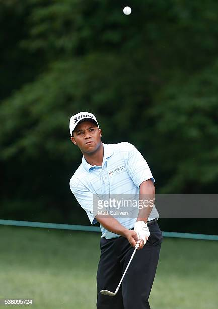 Harold Varner III hits his second shot on the first hole during the third round of The Memorial Tournament at Muirfield Village Golf Club on June 4...