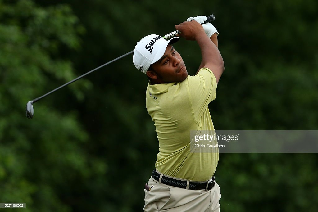 Harold Varner III hits his tee shot on the 8th hole during a continuation of the third round of the Zurich Classic at TPC Louisiana on May 2, 2016 in Avondale, Louisiana.