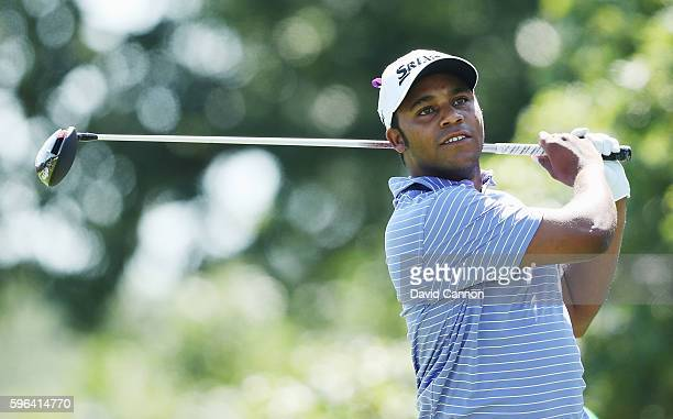 Harold Varner III hits his tee shot on the fifth hole during the third round of The Barclays in the PGA Tour FedExCup PlayOffs on the Black Course at...