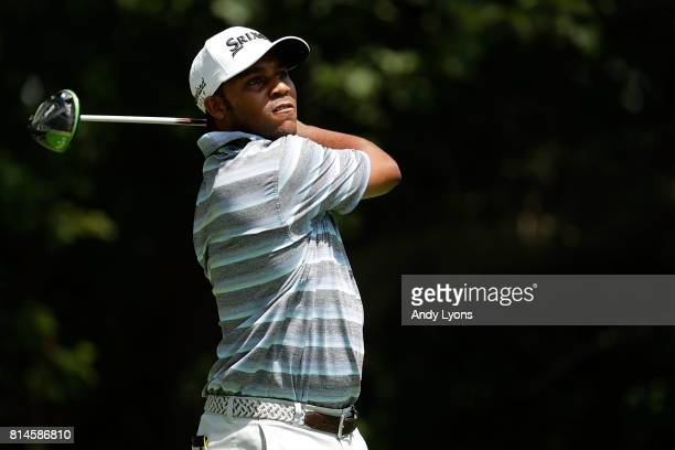 Harold Varner III hits his tee shot on the sixth hole during the second round of the John Deere Classic at TPC Deere Run on July 14 2017 in Silvis...