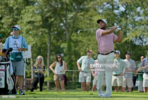 Harold Varner III hits his tee shot t the second hole during the third round of THE NORTHERN TRUST at Glen Oaks Club on August 26 in Old Westbury New...