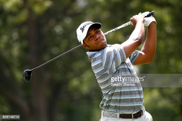 Harold Varner III hits off the third tee during the third round of the World Golf Championships Bridgestone Invitational at Firestone Country Club...