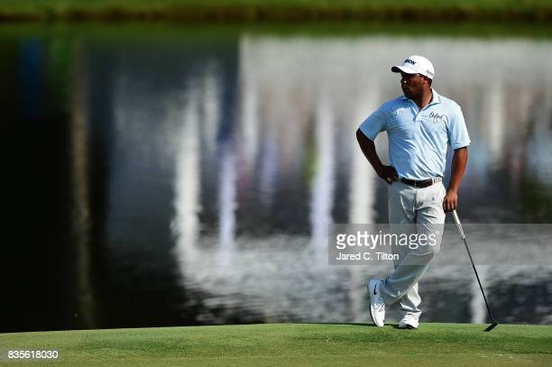 Harold Varner III looks on from the 15th hole during the third round of the Wyndham Championship at Sedgefield Country Club on August 19 2017 in...