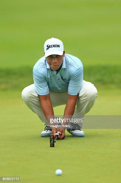 Harold Varner III of the United States lines up a putt on the 10th hole during round one of the RBC Canadian Open at Glen Abbey Golf Club on July 27...