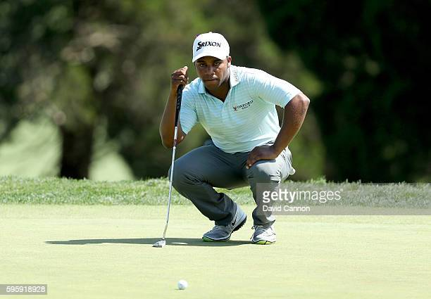 Harold Varner III of the United States on the 18th green during the second round of The Barclays in the PGA Tour FedExCup PlayOffs on the Black...
