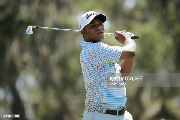 Harold Varner III of the United States plays his shot from the 12th tee during the second round of THE PLAYERS Championship at the Stadium course at...