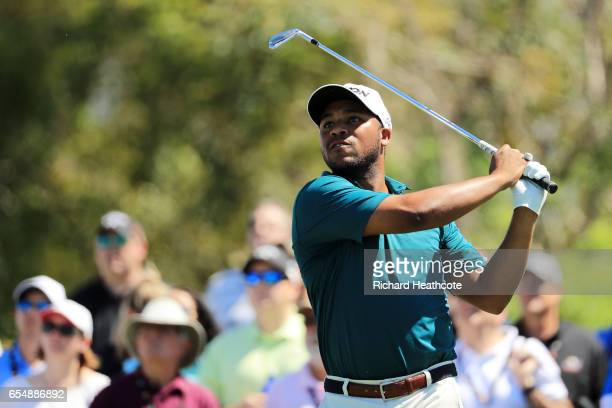 Harold Varner III of the United States plays his shot from the seventh tee during the third round of the Arnold Palmer Invitational Presented By...