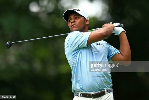 Harold Varner III of the United States plays his shot from the tenth tee during round one of the RBC Canadian Open at Glen Abbey Golf Club on July 27...