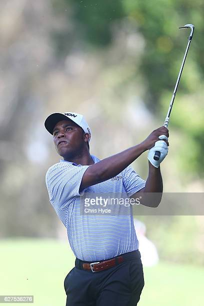 Harold Varner III of the USA plays his second shot during day four of the 2016 Australian PGA Championship at RACV Royal Pines Resort on December 4...